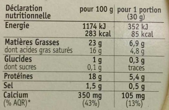 Coulommiers - Nutrition facts - fr