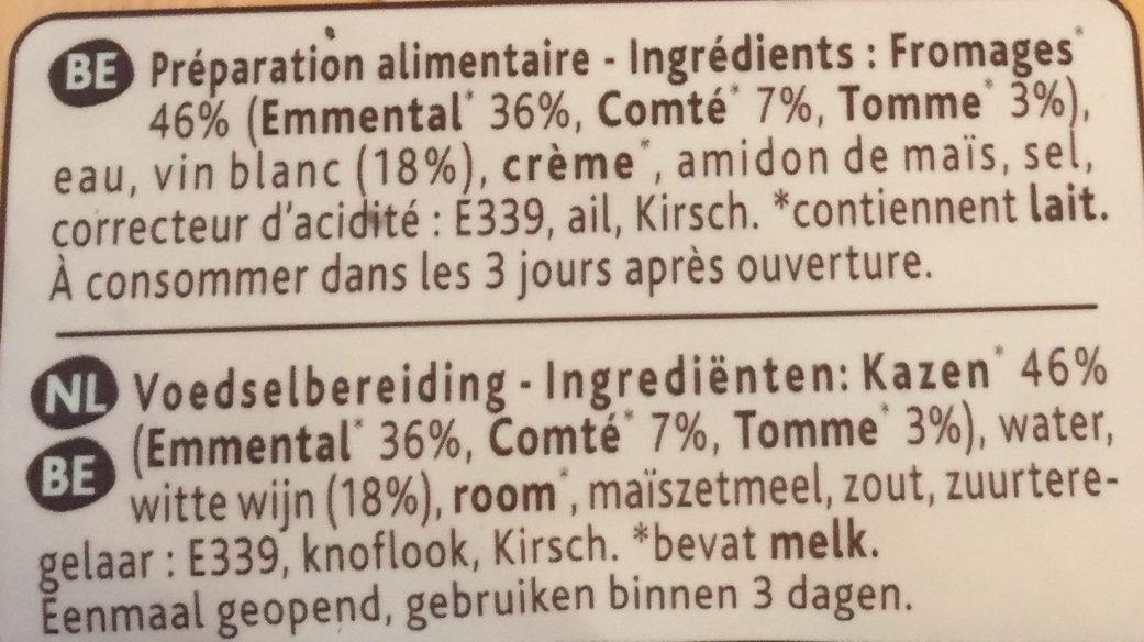 Fondue - rectte savoyarde aux 3 fromages - Ingrediënten - fr