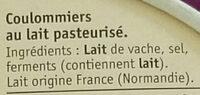 Coulommiers Doux et Crémeux - Ingrédients