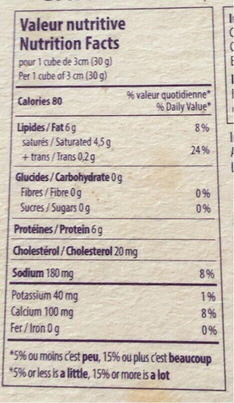 Camenbert - Informations nutritionnelles - fr