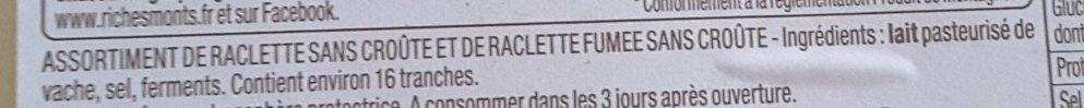 Duo raclette fumée/classique sans croûte - Ingrédients - fr
