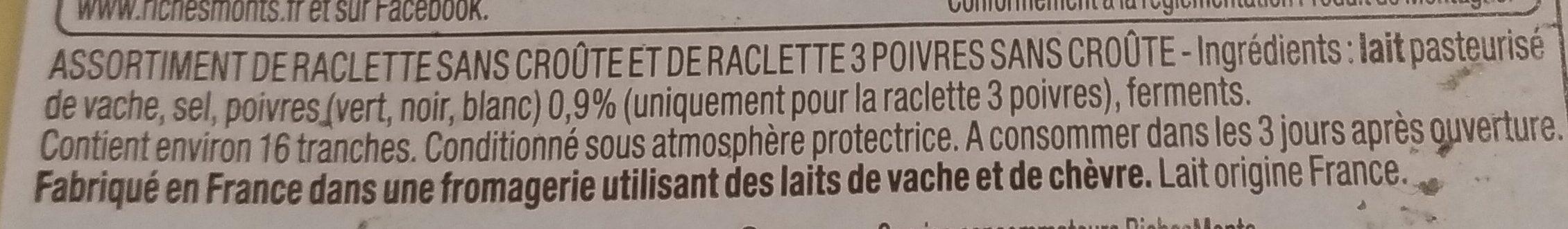 Duo raclette - Ingrédients - fr
