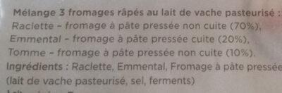 Rapé raclette emmental tomme - Ingrédients - fr