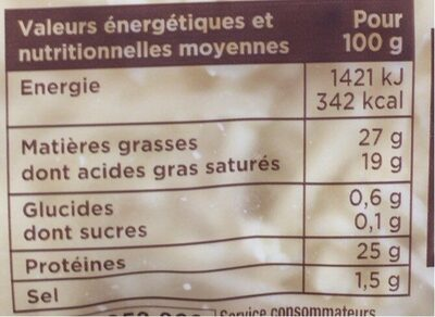 Rapé raclette emmental tomme - Informations nutritionnelles - fr