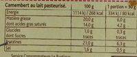 Camembert Le Rustique - Voedingswaarden - fr