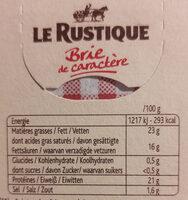 Brie de caractère (23 % MG) - Voedingswaarden