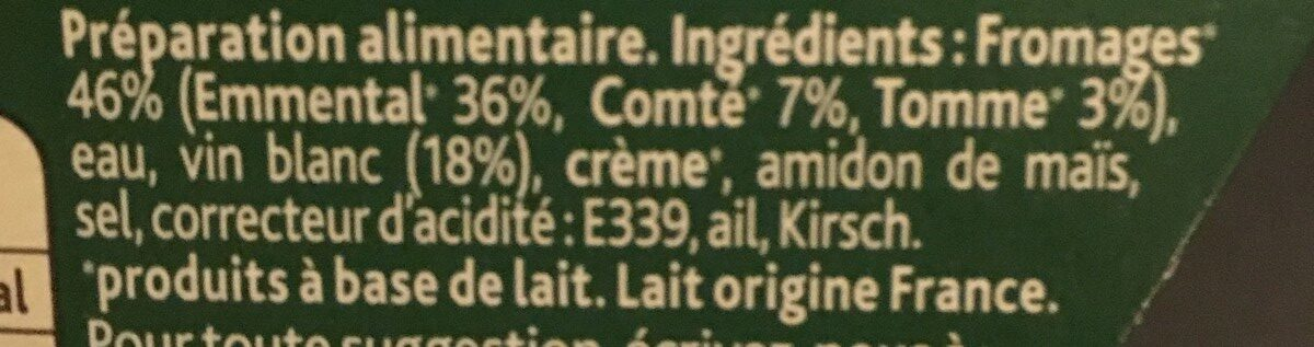 Fondue Recette Savoyarde150g - Ingrediënten - fr