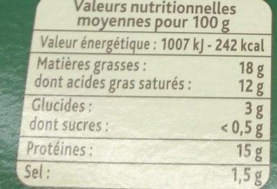 Fondue Recette Savoyarde150g - Voedingswaarden
