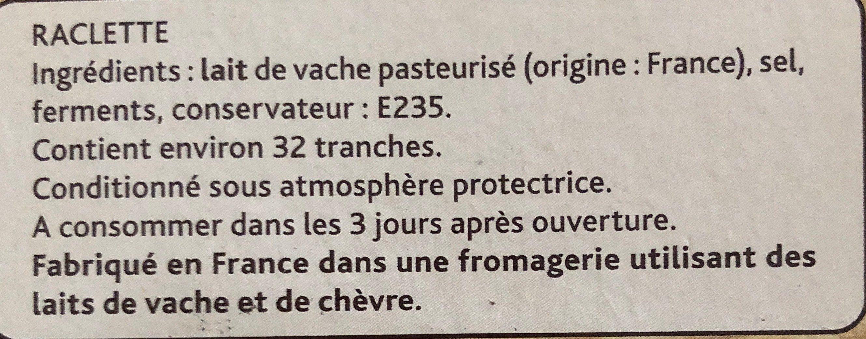 La Raclette Classique (26% MG) Format familial - Ingrédients - fr