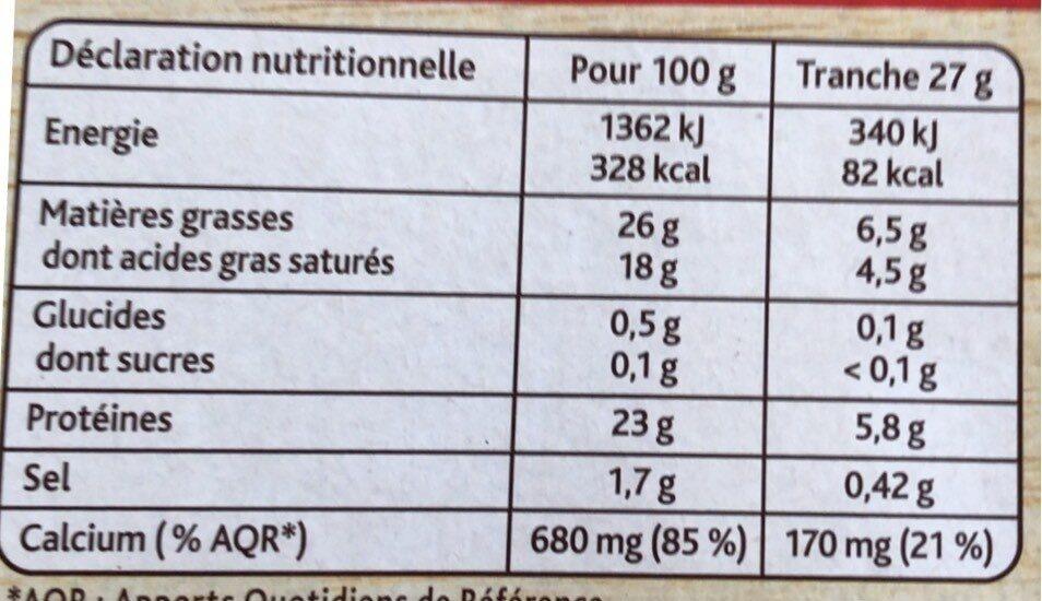 La Raclette Classique (26% MG) Format familial - Informations nutritionnelles - fr