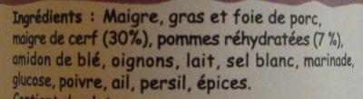 Terrine de cerf aux pommes - Ingredients - fr