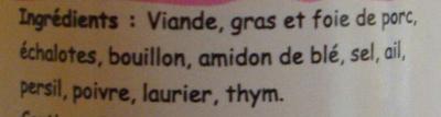 Pâté breton à l'ancienne - Ingrédients