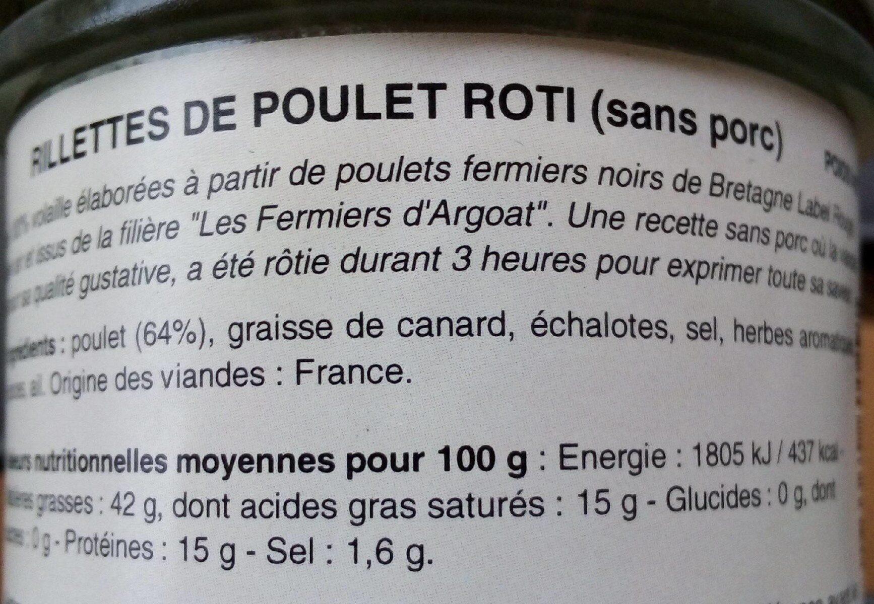 Rillettes de poulet rôti - Nutrition facts - fr