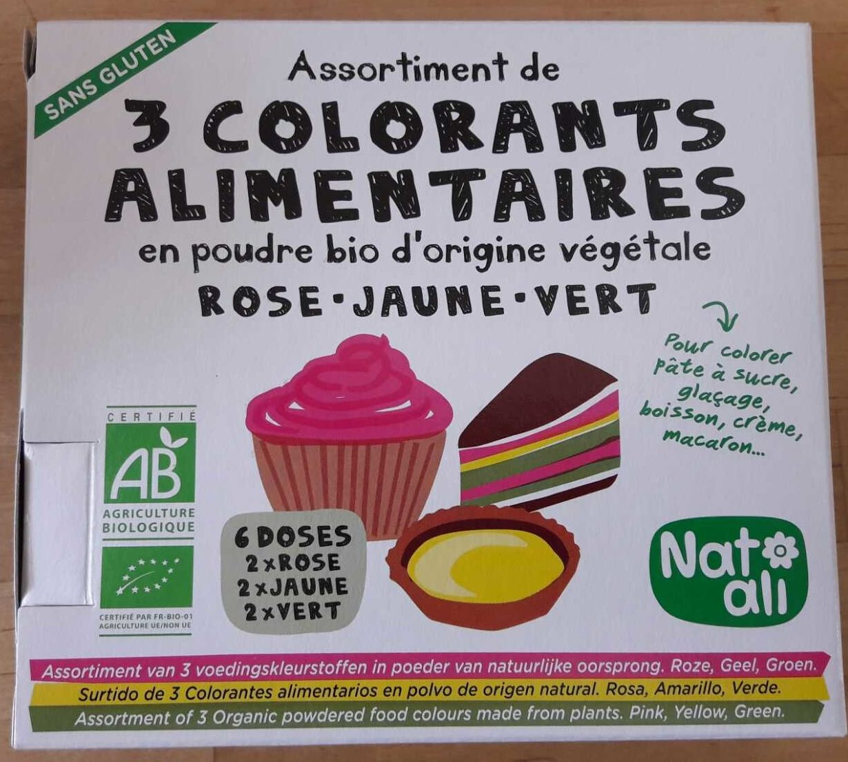COLORANT ALIMENTAIRE 3 COULEURS 6 DOSES - Product - fr