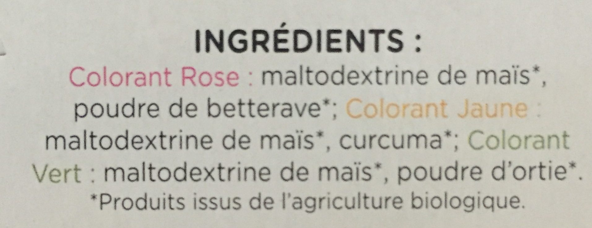 COLORANT ALIMENTAIRE 3 COULEURS 6 DOSES - Ingredients - fr