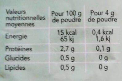 Agar-Agar - Voedingswaarden - fr