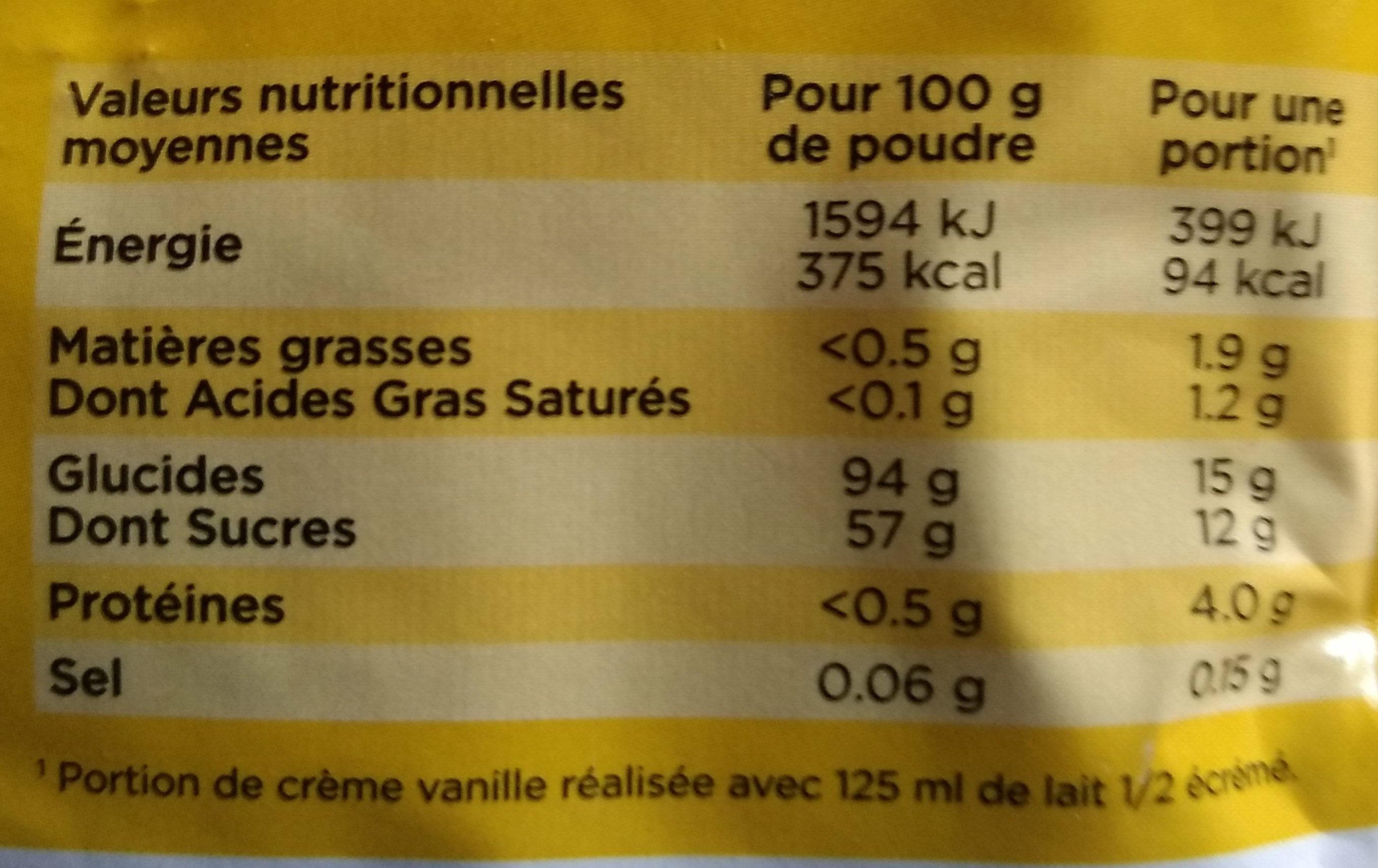 crème vanille au sucre roux de canne - Nutrition facts - fr