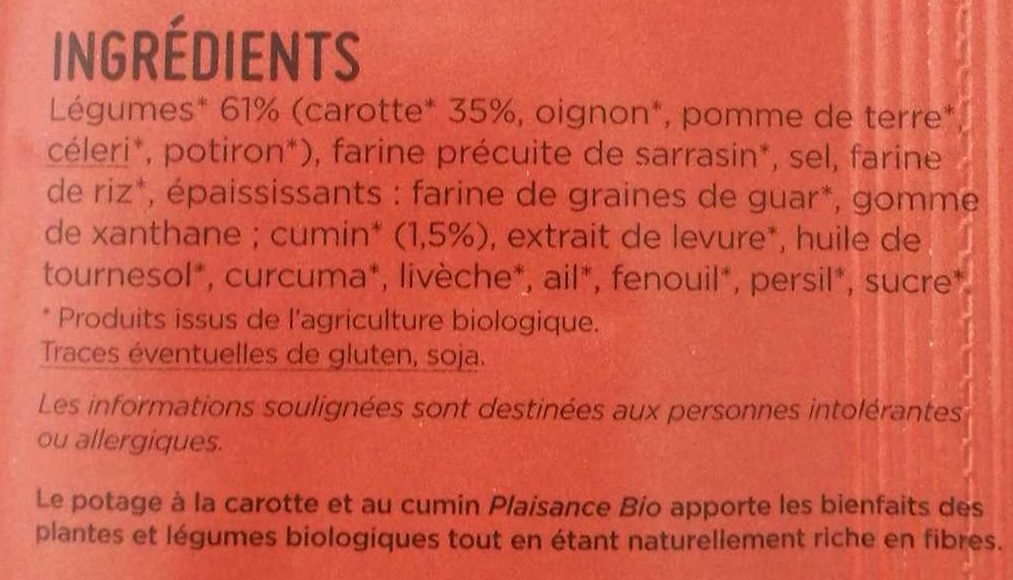 Potage Instantané Carotte Cumin - Ingrédients - fr