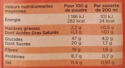 Potage Instantané Carotte Cumin - Informations nutritionnelles - fr