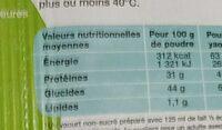 Ferments Lyophilisés Pour Yaourt - Informations nutritionnelles - fr