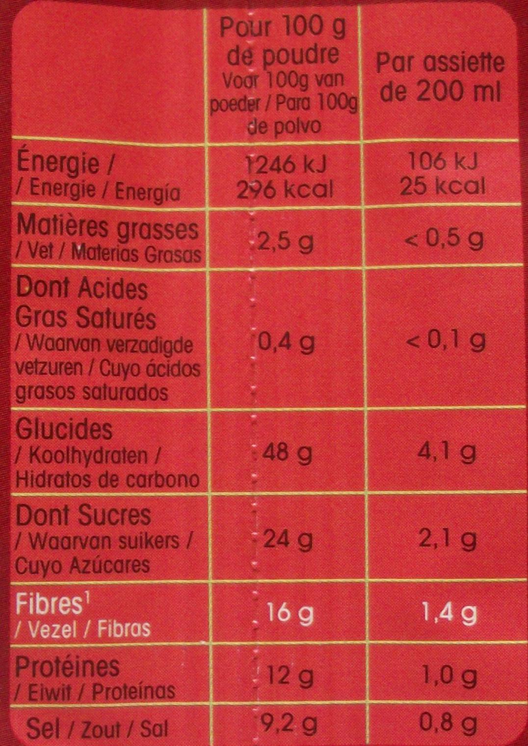 Potabio à la tomate - Nutrition facts - fr