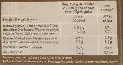 Bio-flan café sans sucres ajoutés - Informations nutritionnelles