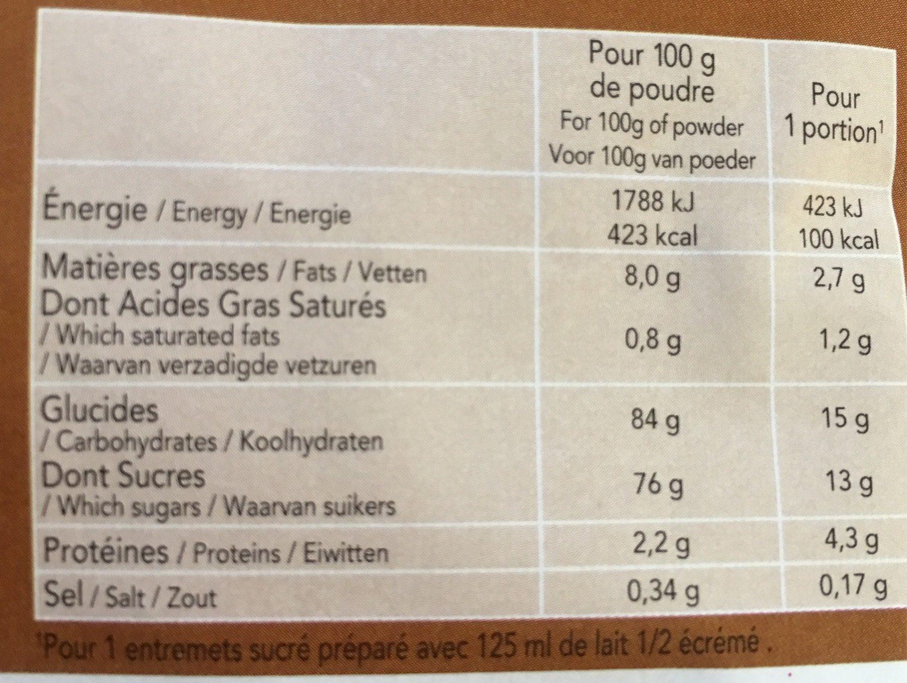 Bio-flan Noisette - Informations nutritionnelles - fr