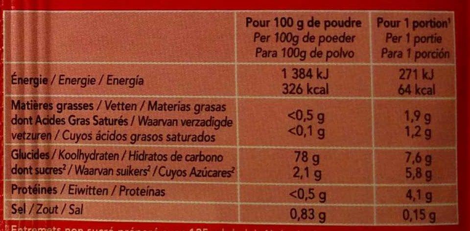 Bio-flan saveur fraise - Informations nutritionnelles - fr
