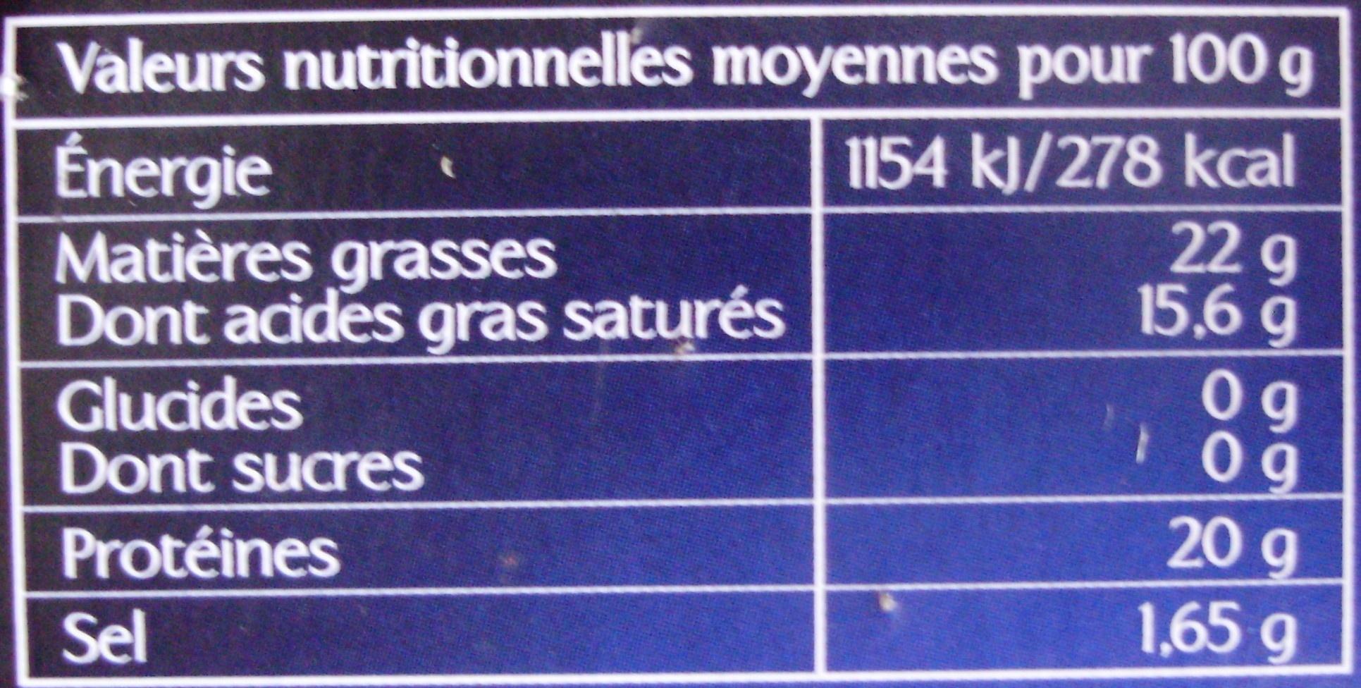 Camembert, Moulé à la Louche (22 % MG) - Nutrition facts