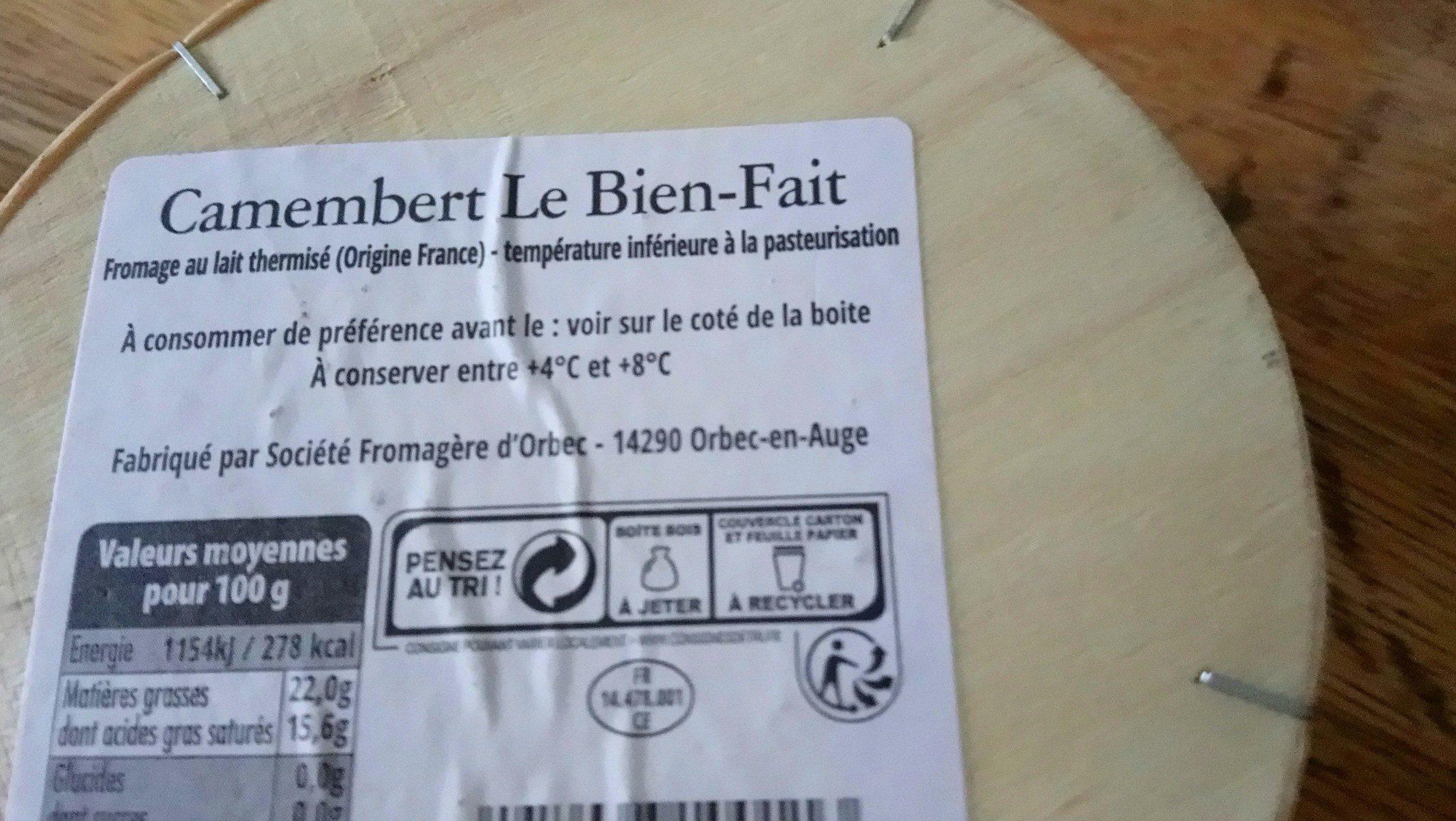 Camembert Le Bien-Fait Moulé à la louche(22% MG) - Ingrédients - fr