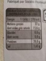 Camembert moulé à la louche - Informations nutritionnelles