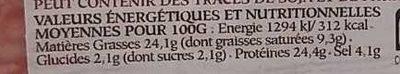 Le Pavé du Beaujolais - Informations nutritionnelles