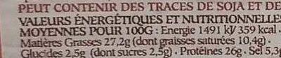 La Rosette des Monts du Lyonnais - Informations nutritionnelles