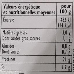 Jambon Cuit Le Foué - Informations nutritionnelles
