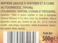 Tartines & Cuisson au Tournesol - Ingrediënten - fr