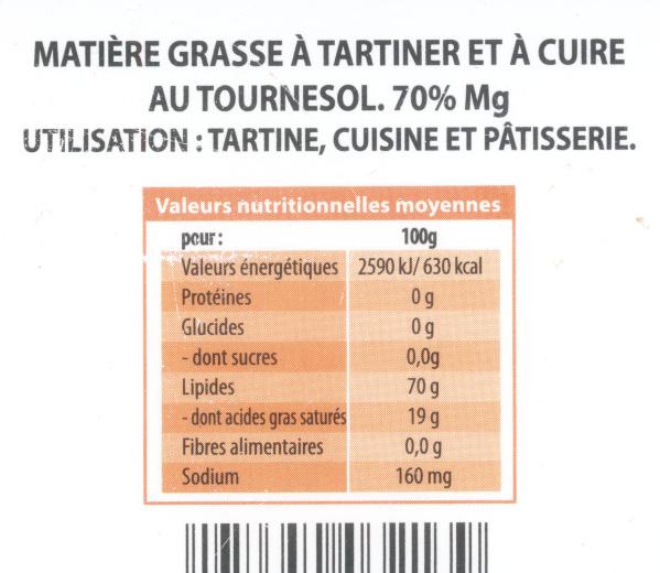 Tartines & Cuisson au Tournesol - Voedingswaarden - fr