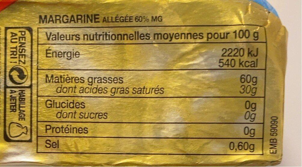 Margarine cuisson 60%mg - Voedingswaarden - fr