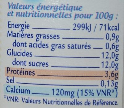 Le Nature Sucré - Nutrition facts