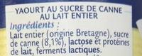 Le Nature Sucre de Canne au Lait Breton - Ingrédients - fr