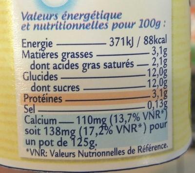 Le Nature Sucre de Canne au Lait Breton - Informations nutritionnelles - fr