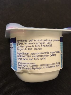 F. Blanc Mamie Nova 0% - Ingrédients - fr