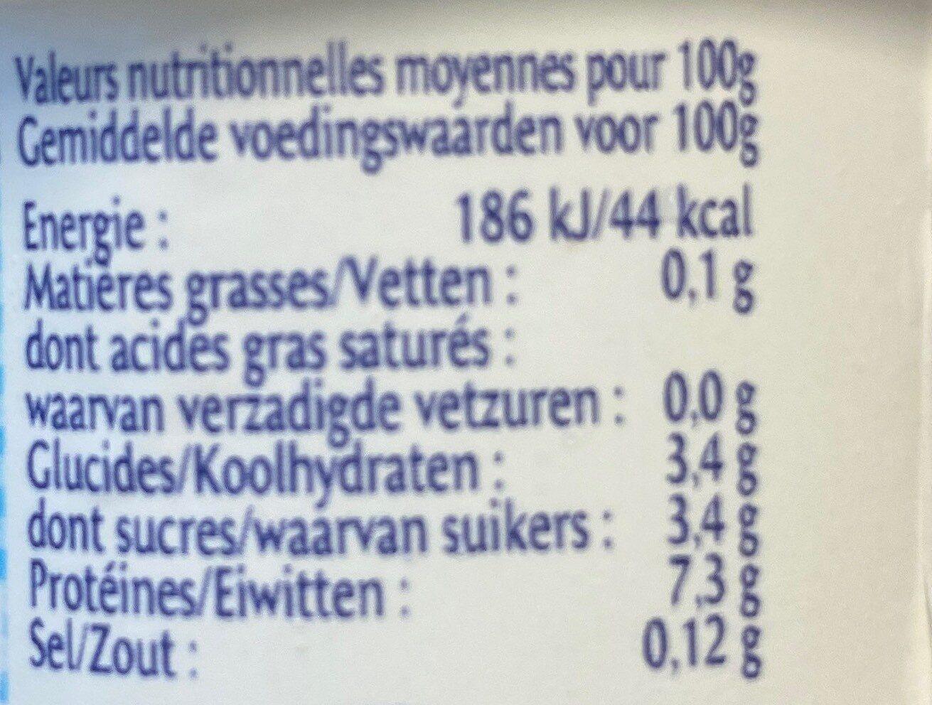 F. Blanc Mamie Nova 0% - Informations nutritionnelles - fr