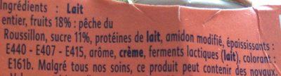 Yaourt Gourmand -  Pêche du Roussillon - Ingredients