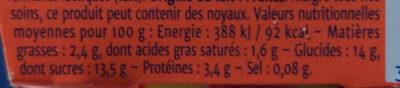 Yaourt Gourmand -  Pêche du Roussillon - Informations nutritionnelles - fr