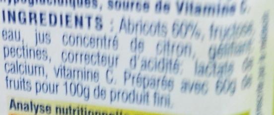 Confiture d'abricots canino au fructose - Ingrédients - fr