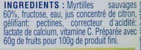 Confiture de Myrtilles Sauvages au Fructose - Ingrédients - fr