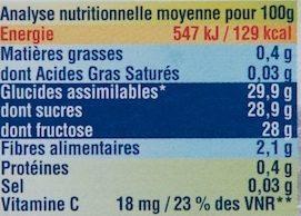 Confiture de Myrtilles Sauvages au Fructose - Informations nutritionnelles - fr