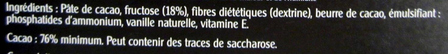Chocolat noir extra fin au fructose - Ingrédients - fr