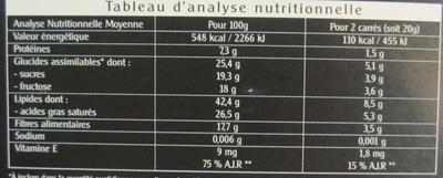 Chocolat noir extra fin au fructose - Informations nutritionnelles - fr