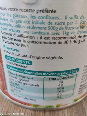 Vivis fructose - Fructose cristallisé - Informations nutritionnelles - fr